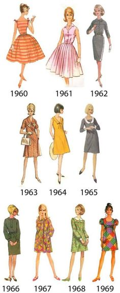 60s dresses, from sewing pattern packaging