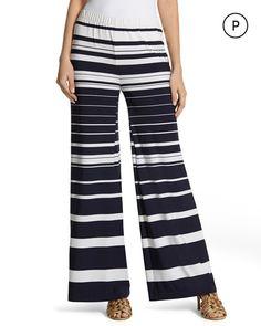 Chico's Women's Petite Knit Kit Striped Palazzo Pants