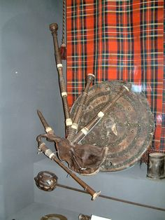 Set of bagpipes in the Elgin, Moray, Scotland museum