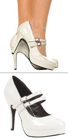 White Double Strap Mary Jane Heels