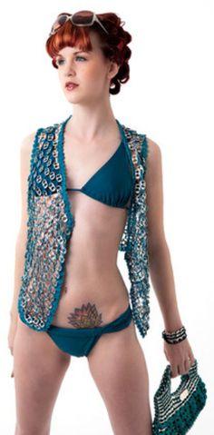 Walleska EcoChicc pop tab crochet vest in turquoise