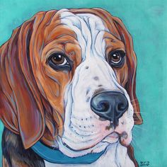 "Miles the Beagle 10"" x 10"" Custom Pet Portrait Acrylic Painting on Canvas OOAK Art Dog Memorial or Gift from Pet Portraits by Bethany."