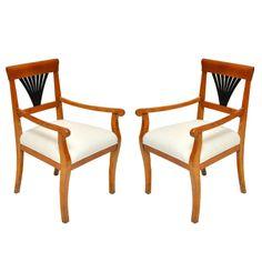 Pair of Fruitwood Biedermeier Arm Chairs