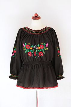 Vintage Hungarian Blouse 1970's Black by PaperdollVintageShop