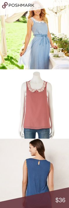 LC Lauren Conrad Lace Peter Pan Collar Tank Top LG Super cute LC Lauren Conrad Tank Top Shirt with a Floral Lace Peter Pan Collar  PRODUCT FEATURES * Back button with keyhole detail * Scoopneck FABRIC & CARE * Back-100% Rayon, Front-100% Polyester * Machine wash RN# 73277 Size-Large (Women's) Brand-LC Lauren Conrad  Color-Withered Rose🌹 LC Lauren Conrad Tops Blouses