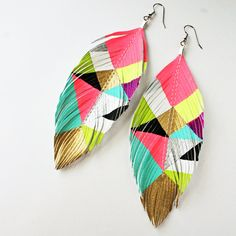 i love these hand painted faux feather leather earrings.