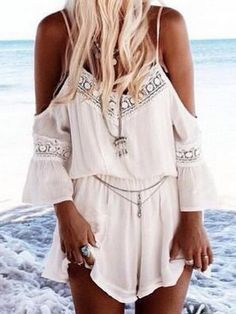 White,Trumpet Sleeves,Spaghetti Strap,Romper,Playsuit,Off Shoulder