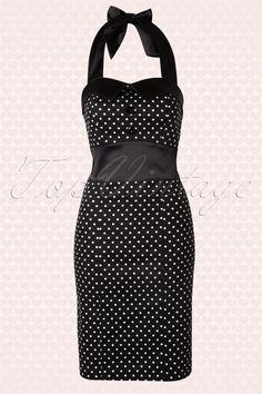 Hearts & Roses - 50s White Polkadot Pencil Halter Dress in Black