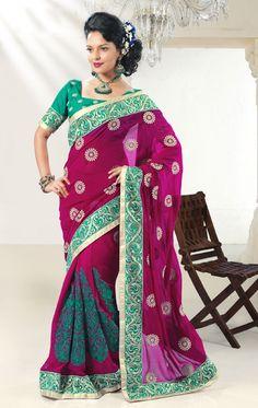 Pink Green Sari