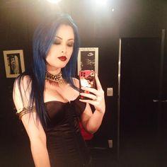 My broken wings can't take me through the dark of day #evergrey #brokenwings #bluehair #redlips