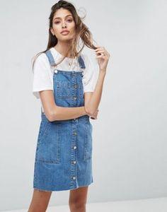 Asos Denim Overall Button Through Mini Dress in Midwash Blue Denim Skirt Outfits, Jeans Dress, Denim Dresses, Prom Dresses Blue, Party Dresses, Tall Dresses, Dress Party, Short Dresses, How To Fold Sleeves