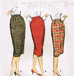 Vintage 1959 McCall's 5082 Sewing Pattern Misses' Proportioned Skirt Size Waist 24