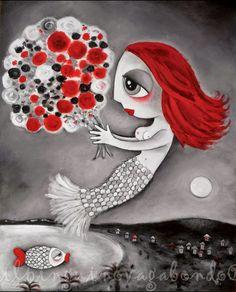 """Acrilico su tela - ispirato  alla litografia """"Nice"""" di Marc Chagall - Il pinguino vagabondo"""