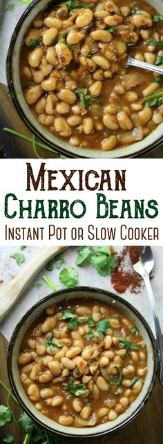 Simple Mexican Charro Beans - flavored with garlic, tomatoes, cilantro and lots of spices! They are the perfect beans to accompany your favorite Mexican entree! Beans In Crockpot, Slow Cooker Beans, Crockpot Recipes, Charro Beans Recipe Slow Cooker, Meatless Recipes, Oven Recipes, Easy Recipes, Cooking Recipes, Mexican Beans Recipe