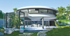 Circle House by Razvan Barsan + Partners in Bucharest, Romania Round Building, Green Building, Building A House, Villa Design, House Design, Circle House, Casa Patio, Dome House, Round House
