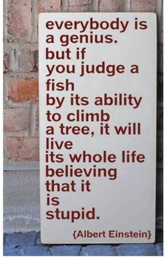 Everybody is a genious. But if you judge a fish by its ability to climb a tree, it will live its whole life believing that it is stupid. Albert Einstein.