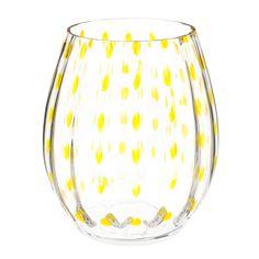 YELLOW glass vase H 16cm