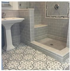 Basement Bathroom Ideas - Exactly what should you think about when developing your basement bathroom? Here are basement bathroom ideas to think about before you begin. House Bathroom, Small Bathroom, Bathrooms Remodel, Bathroom Decor, Bathroom Floor Tiles, Trendy Bathroom, Bathroom Design, Bathroom Flooring, Tile Bathroom