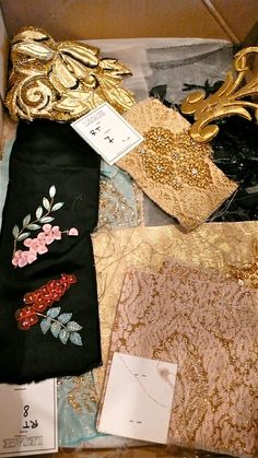Lesage~ embroidered fabric samples from the Lesage archives of work done for Haute Couture houses Tambour Beading, Tambour Embroidery, Couture Embroidery, Couture Sewing, Embroidery Fashion, Elie Saab Haute Couture, Embroidery Designs, Louis Vuitton, Fabric Manipulation