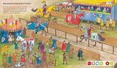 Grote praatplaat ridders en kastelen-riddertoernooi Converse, I Spy, School Projects, Medieval, Castle, Kids, Painting, Castles, Knight
