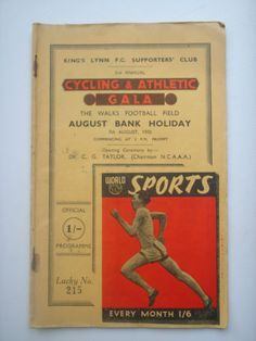 KINGS LYNN F. C. SUPPORTERS CLUB. CYCLING & ATHLETIC GALA 7 AUGUST 1950 | eBay   Very Cool piece of history.