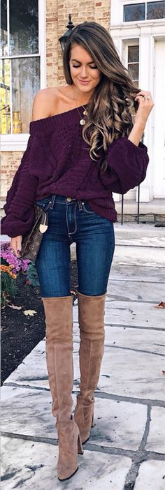 #fall #outfits women's purple knitted boat-neck jacket and blue jeans with pair of brown suede wide-calf boots outfit Click To Shop This Look.