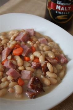 This quick and easy ham and bean soup is packed full of fresh navy beans, smoked ham, carrots and onions. This is the perfect ham and bean soup for winter!