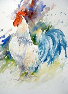 Art By Boon - Gallery. I wish I could paint like this Watercolor Animals, Watercolour Painting, Painting & Drawing, Watercolours, Rooster Painting, Rooster Art, Chicken Painting, Chicken Art, Mundo Animal