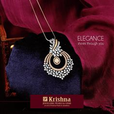 Something exquisitely gorgeous like the stunning #diamondpendant makes any lady shine through. Exclusively available at Krishna Pearls & Jewellers.