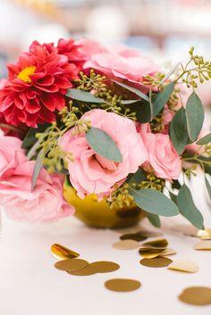 floral love pink green gold party decor decoration wedding casual sweet | Jen + Kat | Los Angeles Stylish Same Sex Wedding | Jenn Emerling Weddings