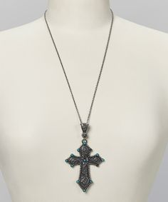 Turquoise & Antique Silver Cross Pendant Necklace