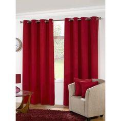 KLiving Manhattan Plain Panama Unlined Eyelet Curtain 90 x 90 Red