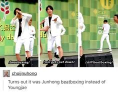 The greatest part of this whole thing is Yongguk laughing in the 3rd frame X) | B.A.P Youngjae Zelo
