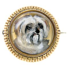 1stdibs | Antique Gold and Reverse Crystal Dog Brooch