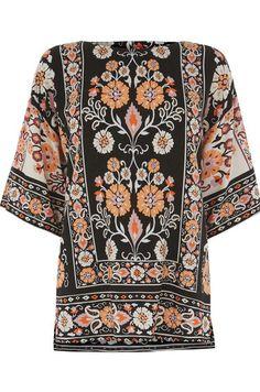 Warehouse, Border Floral T-Shirt Black Pattern 0