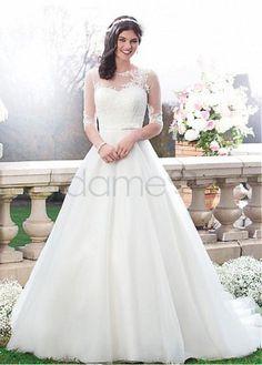A-Linie Spitze Organza Satin 3/4 länge Ärmel bodenlanges aufgeblähtes Brautkleider