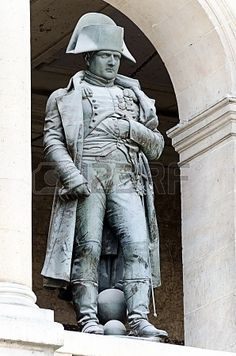 7. Statue of Napoleon wearing a bicorne hat.