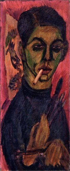 """Ernst Ludwig Kirchner: """"Self-Portrait"""", 1913. https://theartstack.com/artist/ernst-ludwig-kirchner/self-portrait-1913-12"""