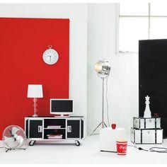 Meuble TV à roulettes en textile enduit L 130 cm