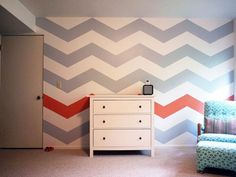 Don't just paint a neutral chevron pattern on your wall, take lead from Noah's Room and mix it up with a spicy color!