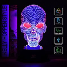 Night Light, SAVFY 3 Color LED Desk Lamp with USB Powered Halloween Christmas Gifts Kids Children Family Home Office Childrenroom Theme Decoration(Skull) * Learn more by visiting the image link. (This is an affiliate link) Christmas Gifts For Kids, Halloween Christmas, Children And Family, Home And Family, Lampe 3d, Led Desk Lamp, Gifted Kids, Nightlights, Home Office