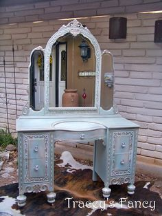 Vanity, Ice, Blue, Silver, French Country, Cream, Furniture, Fancy, Bedroom, Bathroom, Girls, Classic