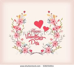 Valentines day card with a bouquet of flowers
