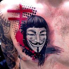 David Mushaney - Trash Polka Style V for Vendetta Tattoo (Guy Fawkes Mask) Tatoo Henna, Mask Tattoo, 1 Tattoo, Chest Tattoo, V For Vendetta Tattoo, Tattoos For Guys, Cool Tattoos, Tatoos, Crazy Tattoos