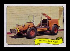 """https://flic.kr/p/9MFMTP   Fleer """"Kustom Car"""" Sticker, 1975   """"A big 440 cubic inch Buick engine was used in this off-the-road vehicle.  The buggy has an all-steel body and frame rails, and an extra high air scoop is used to clear the bellows of dust raised in the dunes!"""""""