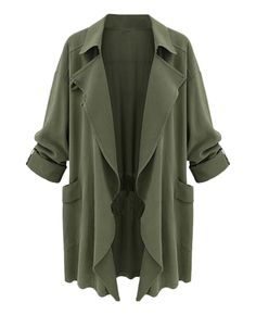 Solid-tone Open-front Loose Duster Coat | BlackFive