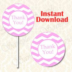 Pink Chevron Thank You Party Favor Tag, Cupcake Topper, Sticker, Gift Tags - Instant Download - DIY Printable