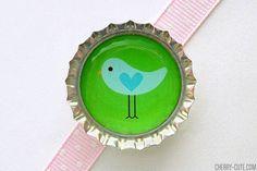 Bird Blue & Green Bottle Cap Magnet  bird magnet by CherryCute