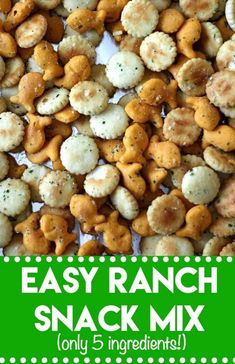 , Easy Ranch Snack Mix (just 5 ingredients and a few minutes! bite-sized crackers and cheesy goldfish all tossed in a ranch coating and toasted, it is snacking perfection made in minutes! Snack Mix Recipes, Appetizer Recipes, Cooking Recipes, Snack Mixes, Kids Snack Mix, Boot Snacks, Goldfish Recipes, Ranch Oyster Crackers, Camping Snacks