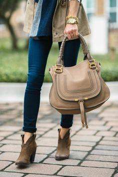 eff2de433 100% Chloe Marcie Large Shoulder Bag Calf Leather Beige Chloe Purses, Chloe  Handbags,